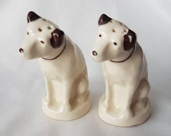 RCA Victor Nipper Dog Salt and Pepper Set; Brown Collars; Radio Corp of America