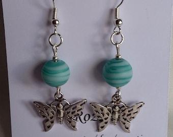 Green Swirl Glass Bead and Butterfly Earrings, birthday, friend, girlfriend, best friend, Mom, sister, aunt, gift, Rozantia
