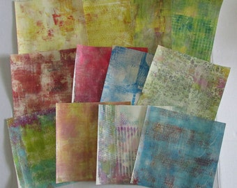 gelli print doodle paper altered art journal junk journal monoprint pages mixed media paper lot of 12