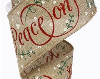 RIBBON - Wired Ribbon - Peace on Earth Ribbon - Wreath - Floral Ribbon - Christmas Ribbon - RG0137854