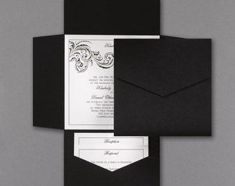 Wedding Invitations - Black Invitations - Pocket Invitation - Invitations Online - Invitation Suite - Wedding Invite Kit - Wedding Suite