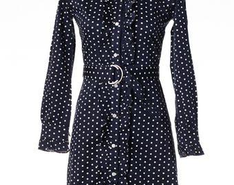 Vintage PRUDENCE Navy Polka Dot Long Sleeve Ruffled Cotton Dress size 4 Small Mod EUC