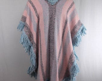 Mexican Blanket Poncho with Cowl Neck, Open Size
