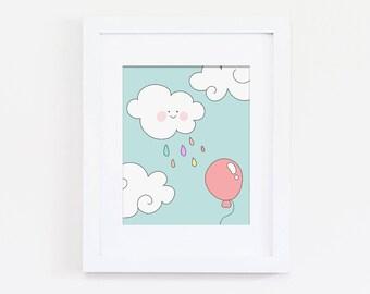 Cloud Nursery Art, Rainbow Nursery Art, Pastel Nursery Wall Art, Rainbow Rain, Baby Girls Nursery Art, Girls Bedroom Art Print, Download