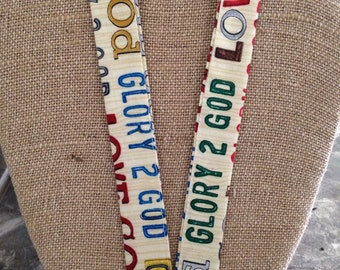 Glory to God LOVE God Religious Faith Lanyard ID Badge Holder