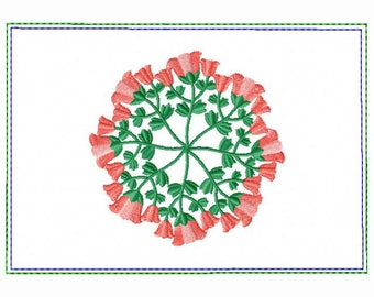 Circle of Flower Small Money Purse 05 - In The Hoop Machine Embroidery Design