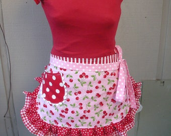 Womens Aprons - Aprons with Cherry Fabric - Red Cherry Aprons - Pink Handmade Aprons - Annies Attic Aprons - Etsy Aprons - Red Waist Aprons