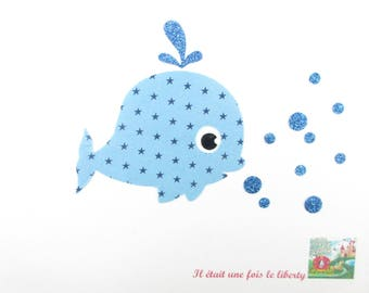 Applied fusible fabric stuffed whale blue sky and glitter flex patch whale pixel pattern whale applique whale applied