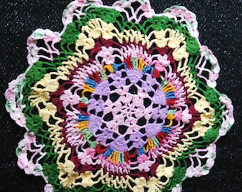 Vintage Crocheted Doily, Shabby Chic, Vintage Home Decor, Multi Color,