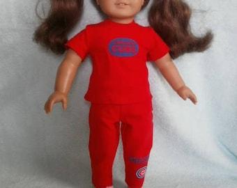 Baseball theme PJ's for American Girl Size Dolls, Chicago Cub theme set for 18 inch dolls