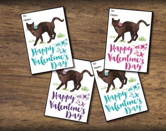 Kids Valentine cards for school. Cat Valentines Day card. Instant download printable. DIY Valentine cards. Kitten tags. Classroom valentines