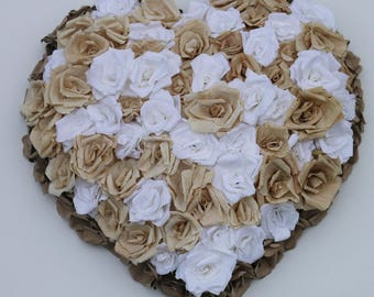 White and beige rose heart, Paper flower heart, Love gift, Crepe rose heart, floral wall decoration, Paper rose heart, floral heart, kraft