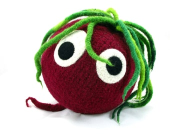 Beet Snooter-doot – felted wool toy, whimsical soft-sculptured doll, hand-knit plush, decorative folkart softie, collectible vegetable, red