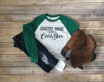 Long sleeve country tee- country music tshirt- cold beer tshirt- country concert tee- country concert tshirt