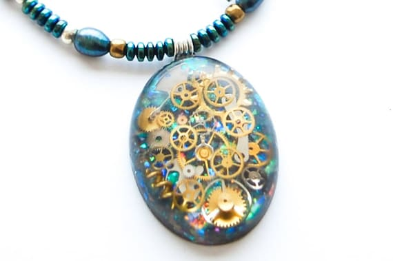 Steampunk Pendant  Necklace Watch Parts, Cogs, Gears in Resin, Opal Effect, Sterling Silver, Peacock Freshwater Pearls, Hematite ,Blue/Green