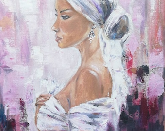 Lady in White,oil painting, oil on canvas