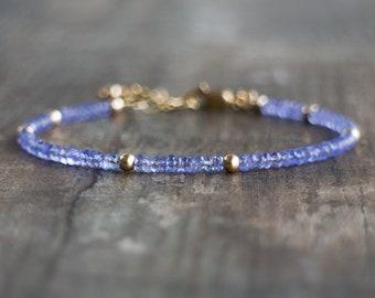 Tanzanite Bracelet, Birthday Gifts for Her, Gift for Wife, Beaded Bracelet, Gemstone Bracelet, Tanzanite Jewelry, December Birthstone
