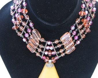 Fabulous Vintage Signed VCLM Pink Crystal Pendant Necklace