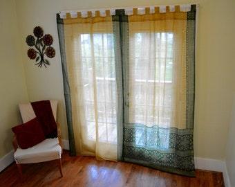Green and Tan - Tab Top Saree Curtains