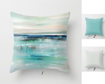 Decorative Pillows, Throw Pillow Covers, Art Pillow, Cushion Covers, Gray Blue Pillow, Turquoise Pillows, Coastal Pillows, Beach Pillow Gift