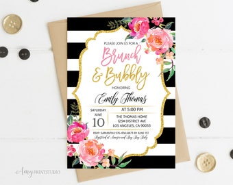 Brunch and Bubbly Bridal Shower Invitation, Floral Bridal Shower Invitations, Striped Bridal Shower Invite, PERSONALIZED, Digital file, #D11