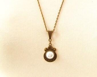 Bronze Anniversary Gift for Her/Bronze Pendant Necklace/Bronze Jewelry/Bronze Medallion/Faux Pearl Bronze Necklace/8th Anniversary Gift