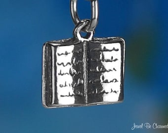 Sterling Silver Book Charm Novel for Readers Book Lovers 3D Solid .925
