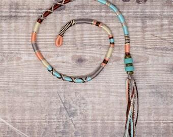 Cotton Hair Wrap, Fae Hair braid, Festival wear braid, Removable, festival hair, Mok Atebas, Brown Cream Peach, Custom pattern, HUSH HUSH