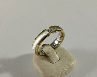17.7 mm Ring Silver 925 brushed part gilded Crystal SR221