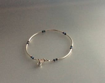 Sapphire and sterling silver stacking bracelet