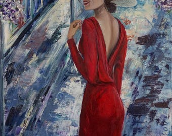 Lady in red Colorful Wall Art Unique Valentine's Gift Bright Original Modern Impressionism Art Living Room Decor Romantic Mysterious Women