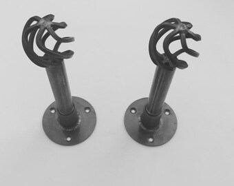Pair Of Curtain Hold Backs | Steampunk / Industrial | Steel Iron Pipe Fittings