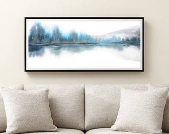 Extra Large Wall Art, Teal Blue, Grey White Art, Horizontal Art Abstract, Narrow Print Landscape Watercolor Painting, Very Large Print