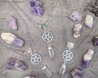 Pentagram - Crystal - Pendant - Goth - Witchy - Necklace - Silver - Moonstone - Labradorite - Gothic - Handmade Jewelry - Gem - Occult