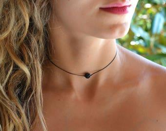 Oil Diffuser Necklace Lava Bead Necklace • Aromatherapy Gift Diffuser Jewelry Black Lava Stone •Essential Oil Diffuser, lava stone necklace