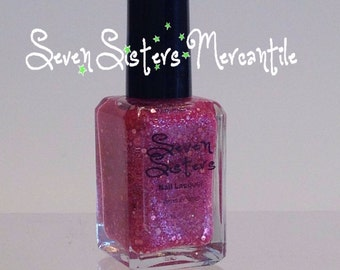 I Do Believe In Faeries - Seven Sisters Nail Lacquer 15 mL 0.5 Fl Oz. - Neverland Collection - Pink Iridescent Shimmer Glitter Nail Polish