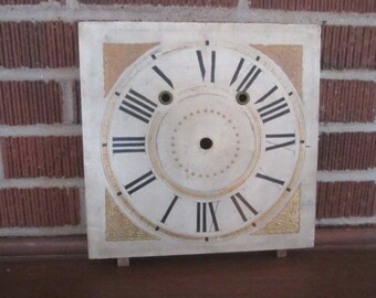 Antique Salvaged Wooden Clock Dial from Midwest Estate for Assemblage