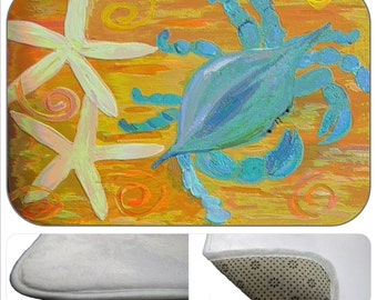 Blue Crab and Starfish bathmat from my art