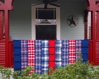 """Americana Rag Quilt, Handmade Cotton Flannel Quilt, Twin or Large Throw Size, 75"""" x 92"""""""