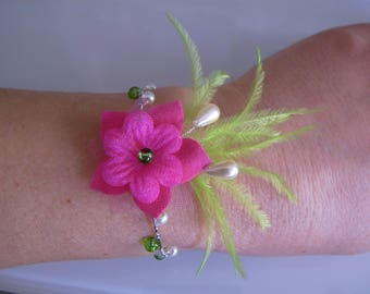 Bracelet ivory/cream/Green Apple/lime/pink Fuchsia pr dress bridal/wedding/party/ceremony/cocktail feather beads (cheap)