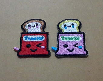 Set 2 pcs Red & Pink Toaster Oven Applique Embroidered Iron on Patch size 3.1 x 3.5 cm.