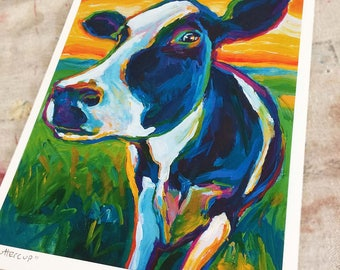 COW ART PRINT by Robert Phelps; Cow Art, farmhouse decor, Cow Print, Psychedelic, Psychedelic art, rustic decor, rustic home decor, wall art