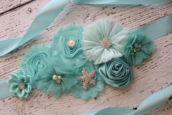 Sash, aqua  beach Sash, flower Belt, maternity sash, wedding sash, baby shower sash