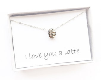 Coffee Bean Necklace, Coffee Lover Gift, Coffee Necklace, Latte Lover Gift, Coffee Bean Pendant, Coffee Bean Charm, Gift for Her, 3D Bean