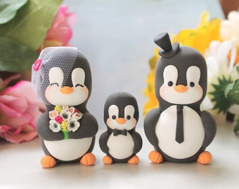 Family wedding cake toppers Penguins - LARGER size, baby/child - unique anniversary gift wedding bride groom anemones callas fuchsia yellow