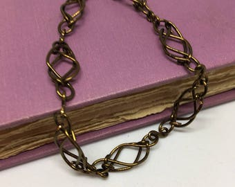 Custom link chain bracelet in vintage bronze, jewelry, hand crafted, bracelet,  woven wire