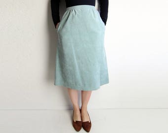 VINTAGE Skirt Ultrasuede 1970s Green A-Line Below Knee Extra Small