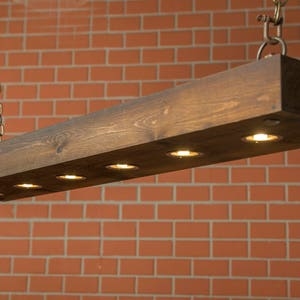 Rustic Lighting Reclaimed Wood Light Dining Room Fixture With LED Lamps