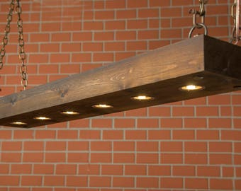 Rustic Lighting, Reclaimed Wood Light, Dining Room Light, Lighting Fixture  With LED Lamps