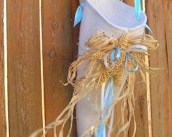 On Sale Wedding Flower Pew Cone, Decoration, Burlap With Seashells and Rafia